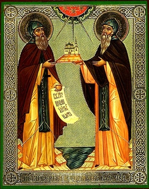 Religious Orthodox icon: Holy Venerable Elders Sergius and Herman of Balaam
