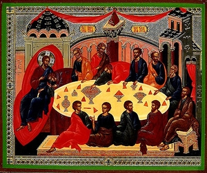 Religious Orthodox icon: The Last Lord's Holy Supper