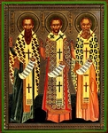 Religious Orthodox icon: Holy Hierarchs Basil the Great, St. Gregory the Theologian and St. John Chrysostom