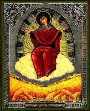 Religious Orthodox icon: Theotokos the Grower of the grains