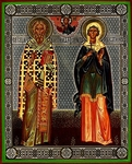 Religious Orthodox icon: Holy Hieromartyr Cyprian and Holy Martyr Justina