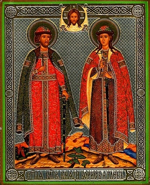 Religious Orthodox icon: Holy Right-believing Princes Boris and Gleb