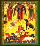 Religious Orthodox icon: Holy Martyrs Florus, Laurus and Archangel Michael
