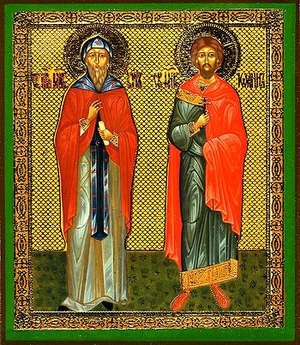 Religious Orthodox icon: Holy Martyrs Cyrus and John
