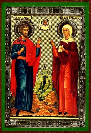 Religious Orthodox icon: Holy Martyrs Adrian and Natalia