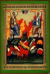 Religious Orthodox icon: Holy Hieromartyr Blasius and Holy Hierarch Spyridon of Tremethius