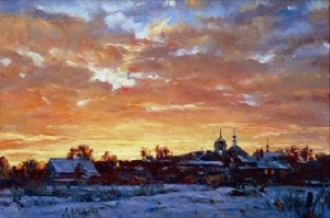 "Painting: V.I. Nesterenko ""A cold sunset"