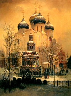 "Etching: ""A view of the Trinity-Sergius lavra"""