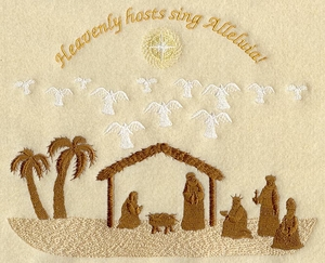 Angels & Stable Silhouette w/Text