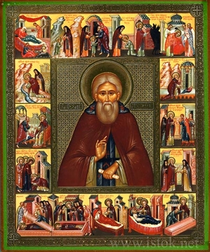 Religious Orthodox icon: Holy Venerable Sergius of Radonej (with life scenes)
