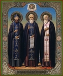 Religious Orthodox icon: Holy Venerable Nilus of Sorsk, Sergius of Radonezh, Seraphim of Sarov