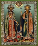 Religious Orthodox icon: Holy Right-believing Prince Michael of Chernigov and Holy Martyr Boyar Theodore