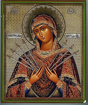Religious Orthodox icon: Theotokos of the Seven Arrows