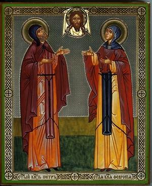 Religious Orthodox icon: Holy Saint Peter and Febronia