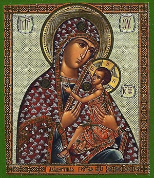 Religious Orthodox icon: Theotokos of the Akathistos