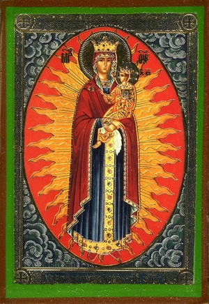Religious Orthodox icon: Theotokos the Grace-Giving Heaven