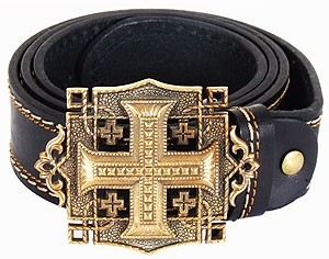 Men's belt - Applique cross