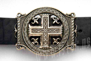 Men's belt - Cross with trefFiligree, filigree oil