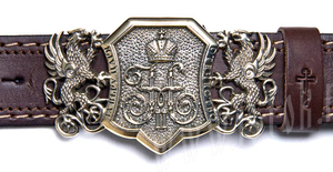 Men's belt - Czar's monogram (Nicholas II) with griffons