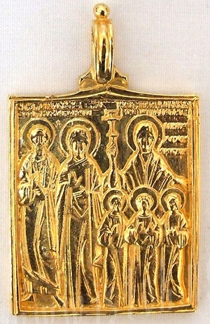 Baptismal medallion: Stt. Joachim, Anna, Vera, Nadejda, Lyubov and their mother Sophia