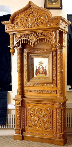 Church kiots: Balaam carved icon case (kiot) with roof