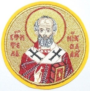 Embroidered icon of St. Nicholas the Wonderworker