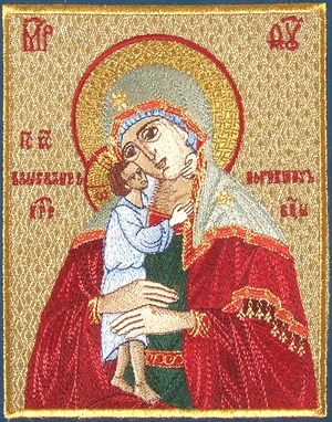 Embroidered icon of the Most Holy Theotokos the Seeking of the Lost
