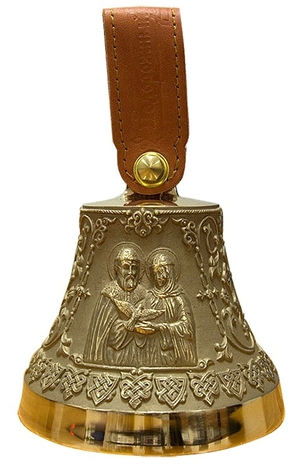 Souvenir bells: Bell with icon of Stt. Peter and Phevronia of Murom