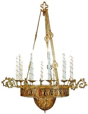 One-level church chandelier - 6 (12 lights)