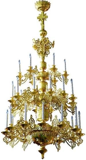 Three-level church chandelier - 3 (30 lights)