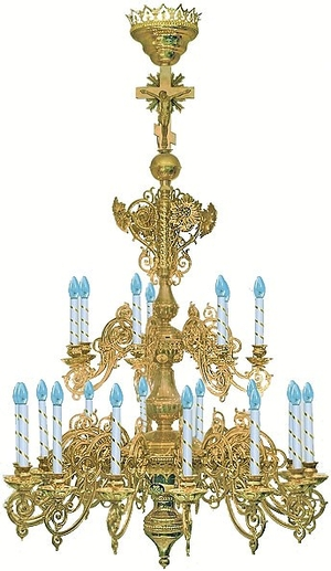 Two-level church chandelier - 12 (21 lights)