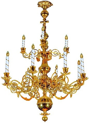 Two-level church chandelier - 7 (21 lights)