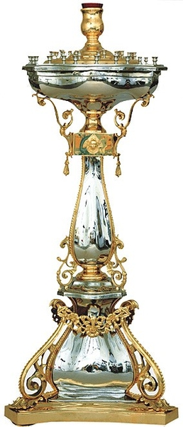 Church floor candle-stands: Candle-stand no.14 (glass) (for 45 candles)