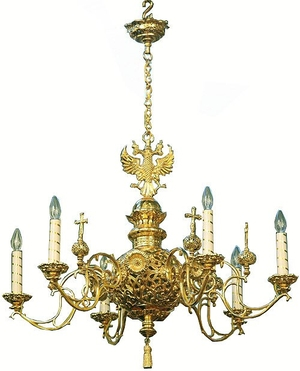 One-level church chandelier - 7 (6 lights)