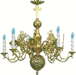 One-level church chandelier - 3 (6 lights)