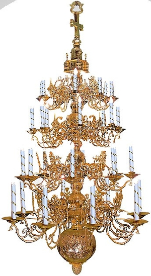 Four-level church chandelier - 1 (32 lights)