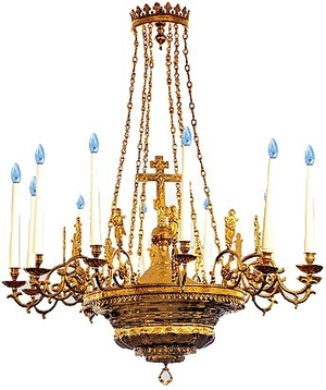 One-level church chandelier - 9 (12 lights)