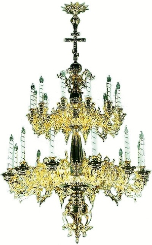Two-level church chandelier - 8 (24 lights)