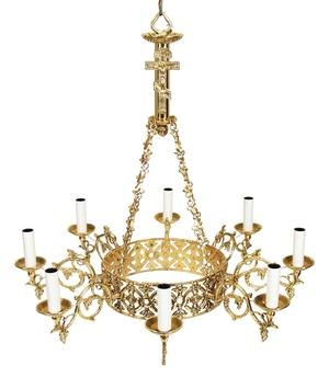One-level church chandelier (horos) - 4 (8 lights)