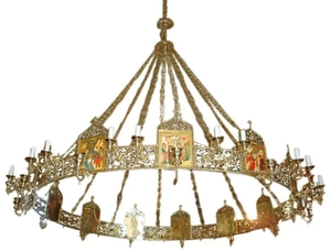 One-level church chandelier (horos) - 2 (36 lights)