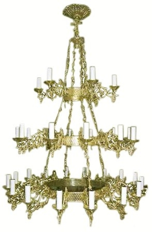 Three-level church chandelier (horos) - 1 (34 lights)