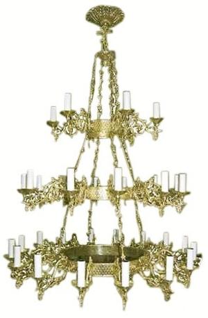 Three-level church chandelier (horos) - 1 (34 lights)