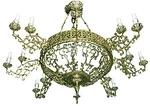 One-level church chandelier (horos) - 12 (16 lights)