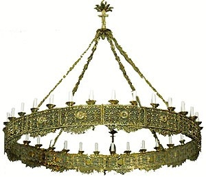 One-level church chandelier (horos) - 14 (32 lights)