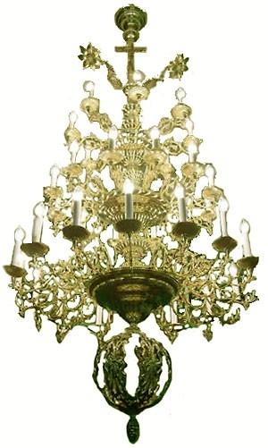 Three-level church chandelier - 9 (36 lights)