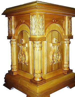 Church furniture: Dormition carved litiya table