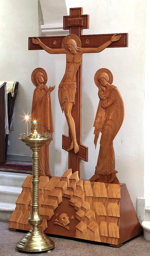 Large carved crucifixion with figures