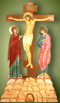 Large painted crucifixion with figures - 1