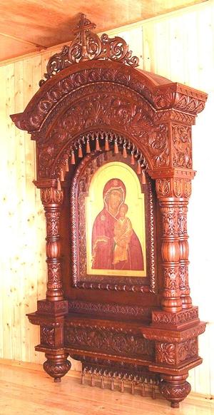 Church kiots: Pokrov carved icon case (kiot) - 3