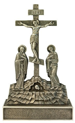 Golgotha crucifixion with figures - 4